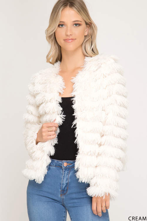 Long Sleeve Faux Fur Jacket