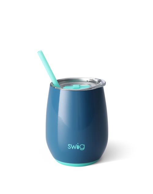 Swig Stemless 14oz Wine W/Straw - Denim