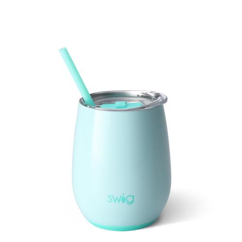 Swig Stemless 14oz Wine W/Straw - SeaGlass