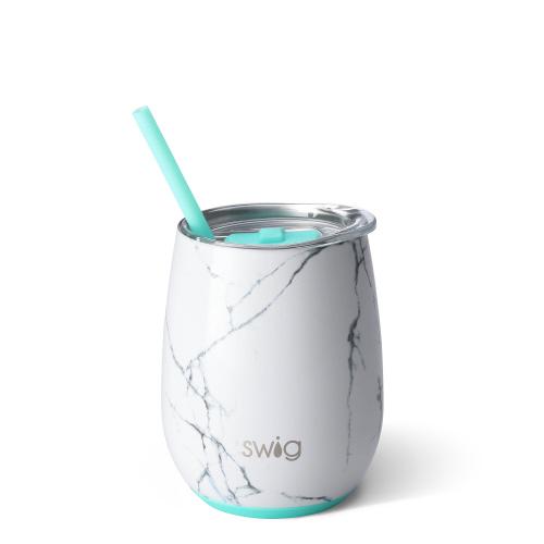 Swig Stemless 14oz Wine W/Straw - Marble
