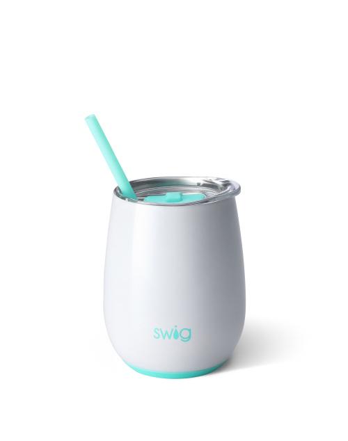 Swig Stemless 14oz Wine W/Straw - Diamond White