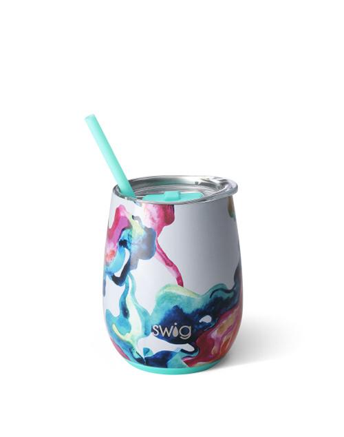 Swig Stemless 14oz Wine W/Straw - Color Swirl