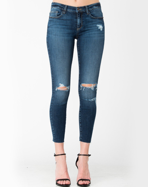 Mid Rise Distressed Crop Skinny Jean