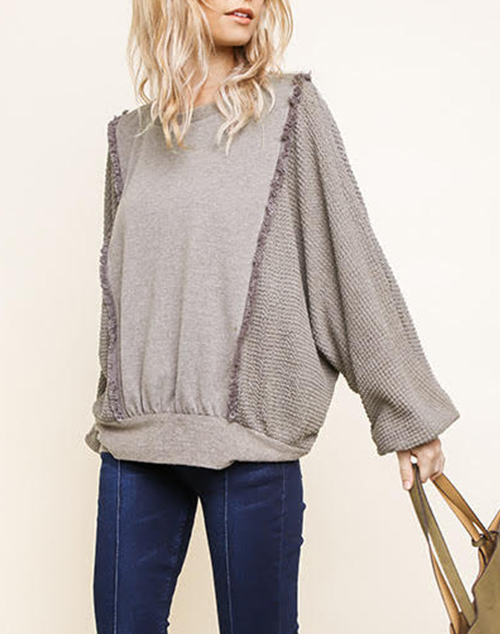 Long Knit Sleeve Top With Ruffle Detail