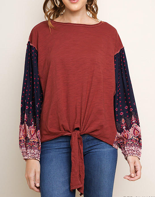 Paisley Long Puff Sleeve Top With Tie