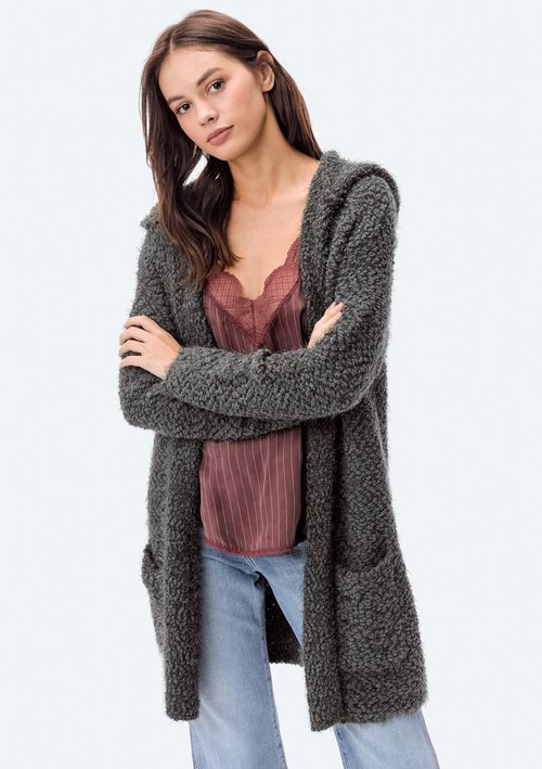 Hooded Two Pocket Olive Eyelash Cardigan