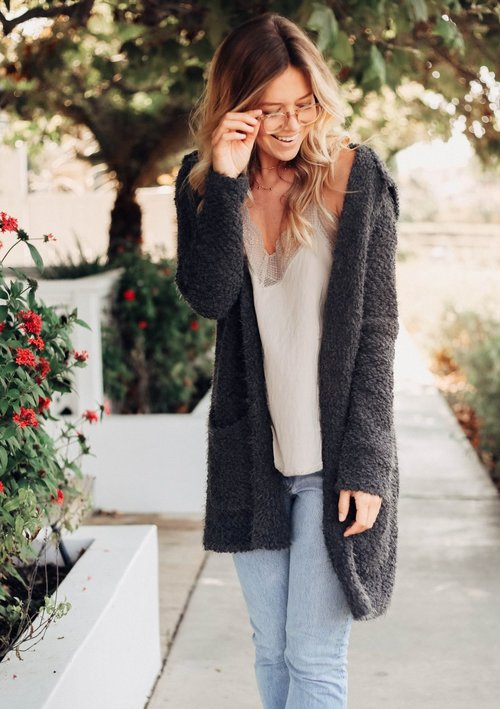 Hooded Two Pocket Charcoal Eyelash Cardigan