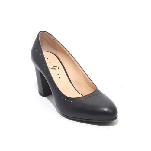 Navy Leather Elegant Classics Heel Pumps