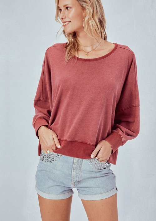 Heather Red French Terry Oversized Pullover Open Back