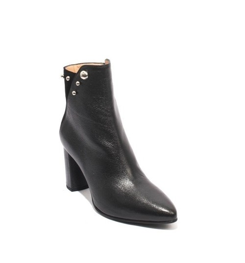 Black Leather Suede Pointy Zip-Up Heels Ankle Boots