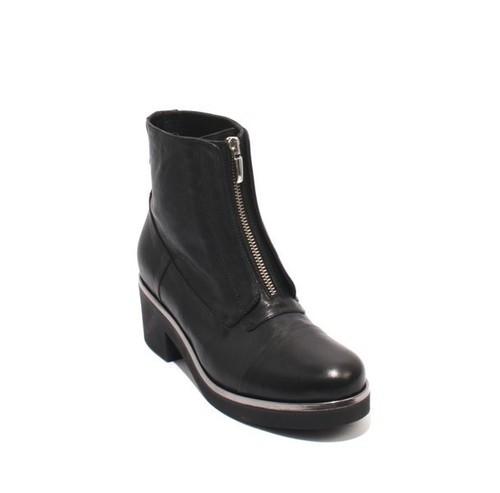 Black Silver Leather Platform Zip-Up Ankle Heel Boots