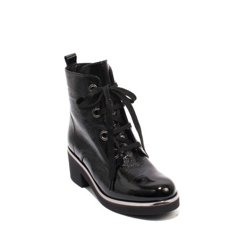 Black Silver Patent Leather Zip Lace Ankle Heel Boots