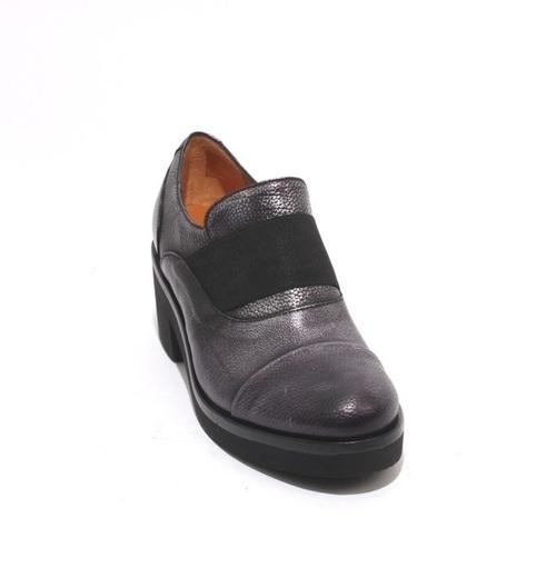 Antique Metal Black Leather Elastic Platform Heel Shoe