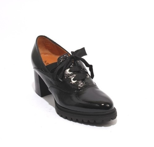 Black Patent Leather Elastic Lace Loafers Heel Shoes