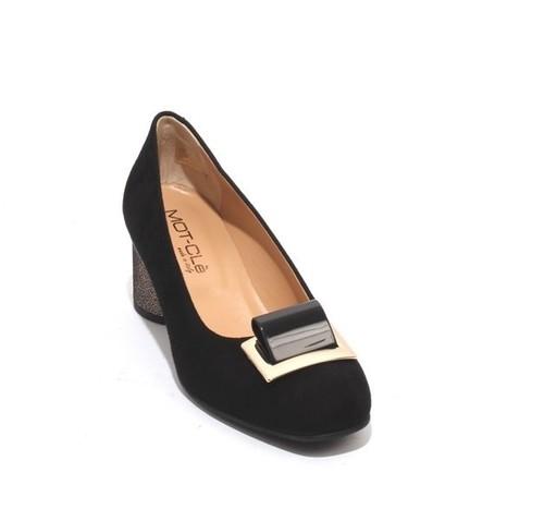 Black Bronze Suede / Gold Buckle Heels Pumps