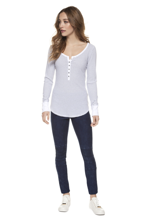 Henlee Striped Scoop Neck Tee