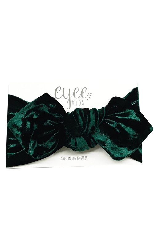 Top Knot Headband - Emerald Crushed Velvet