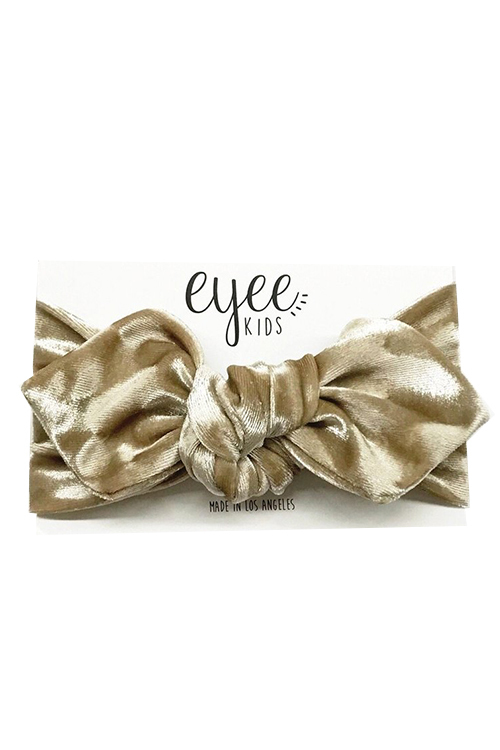 Top Knot Headband - Creme Crushed Velvet