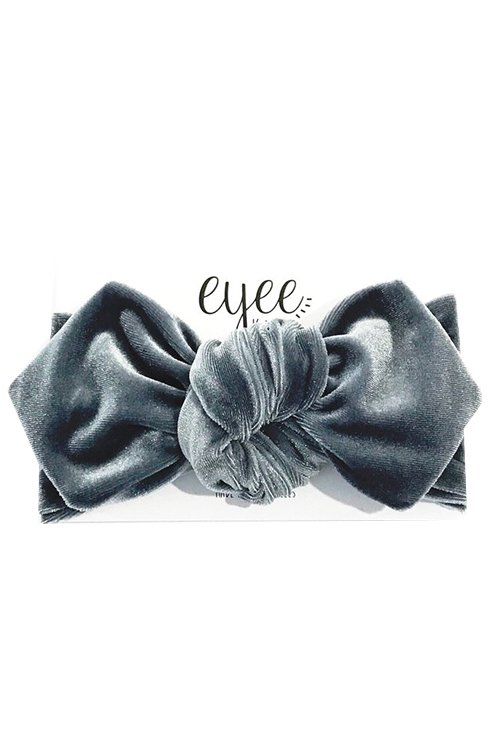 Top Knot Headband - Grey Velvet
