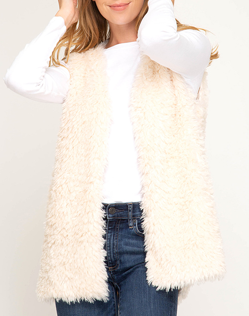 Faux Fur Open Vest With Pockets