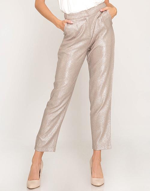 Metallic Woven Pleated Pants