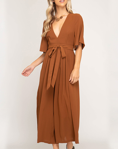 Half Sleeve Culotte Jumpsuit With Open Back