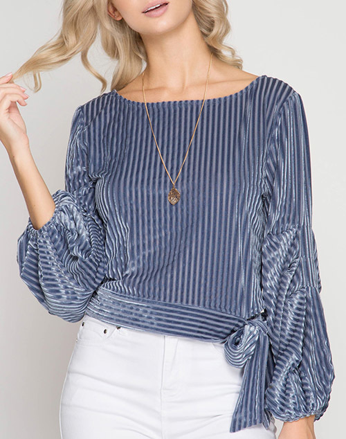Long Balloon Sleeve Velvet Striped Top
