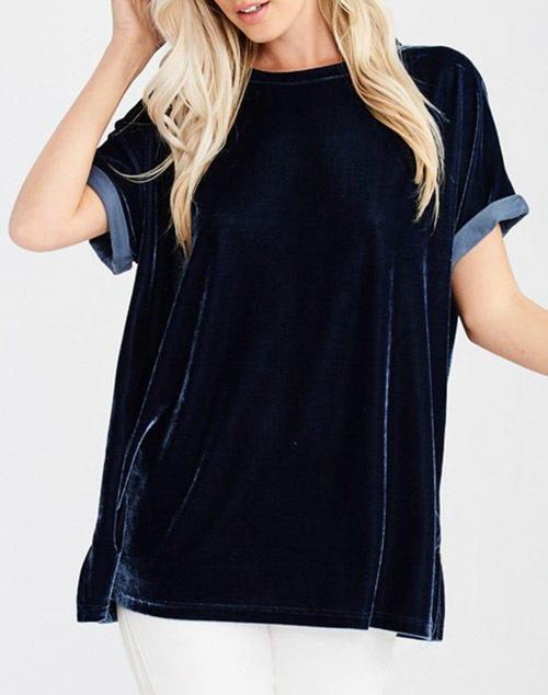 Velvet Short Sleeve Crew Neck Top