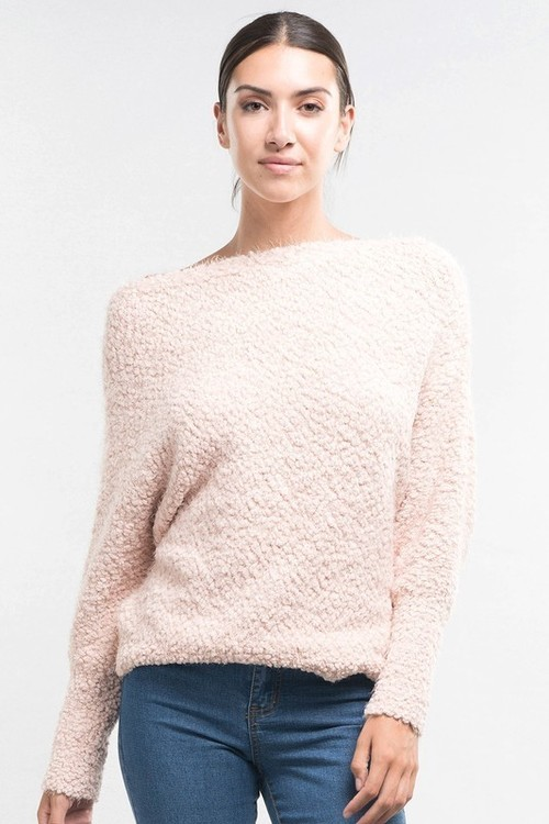 Petal Popcorn Off Shoulder Sweater