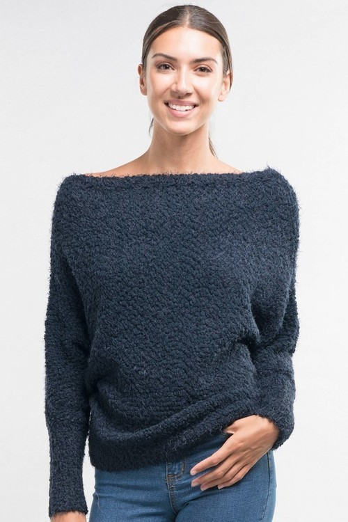 Navy Popcorn Off Shoulder Sweater