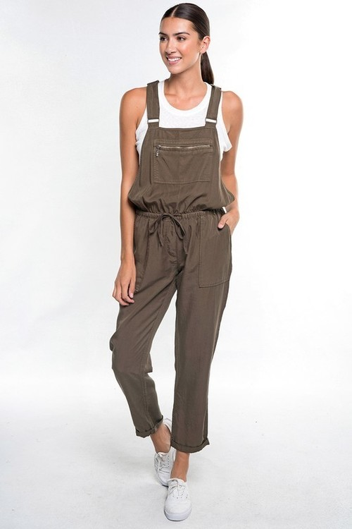 Army Green Tencel Drawstring Overalls