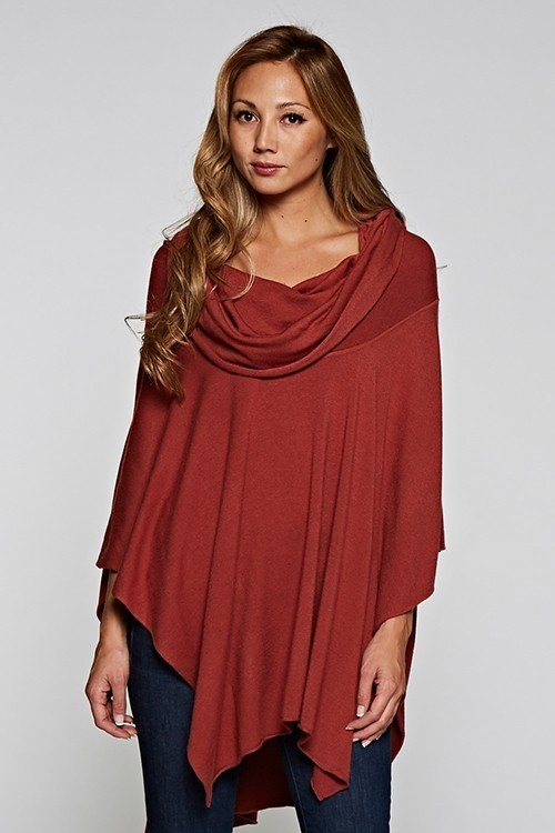 Terracota Cowl Neck Poncho