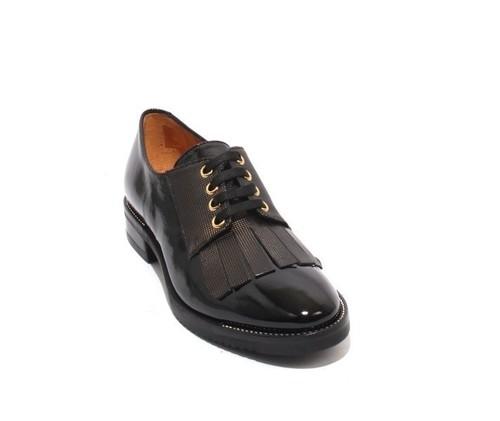 Black Gold Patent Leather Lace-Up Fringe Shoes