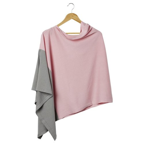 Color Block Cotton Poncho