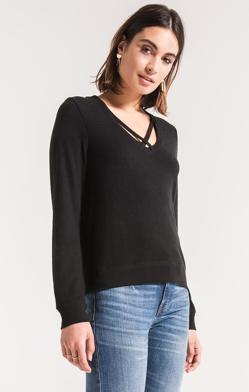 Black Soft Spun Cross Front Pullover