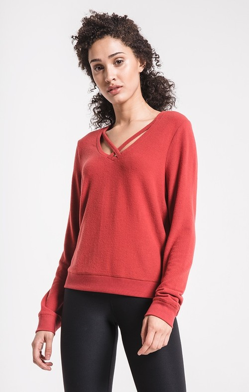 Russet Henna Soft Spun Cross Front Pullover