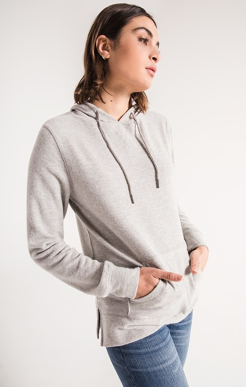 Heather Grey Soft Spun Knit Hoodie