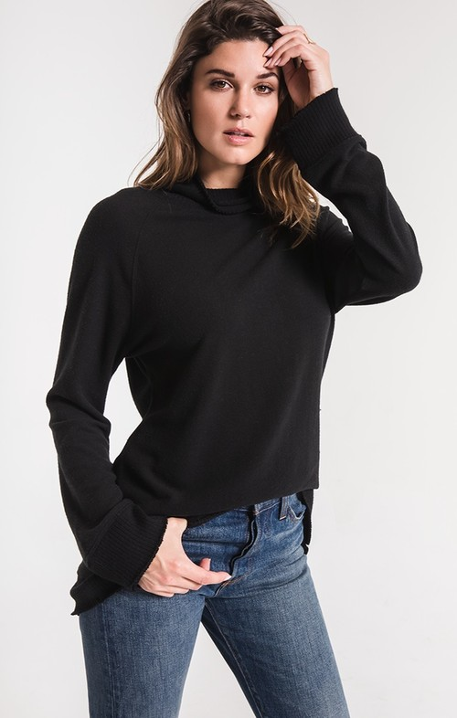 Black Soft Spun Mock Neck Pullover