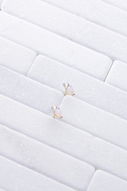 CZ Opal Teardrop Stud 14K Gold Plated