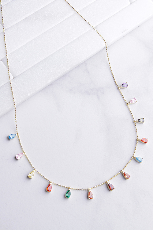Rainbow Teardrop CZ Glitz Chain Necklace