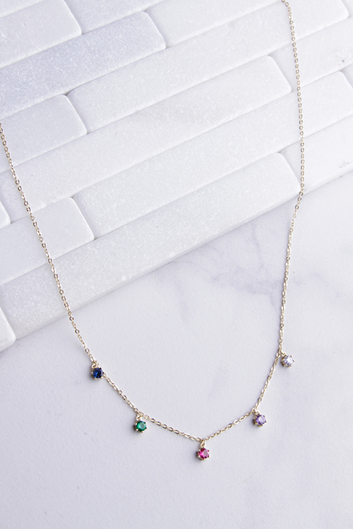 Rainbow CZ Drop Necklace