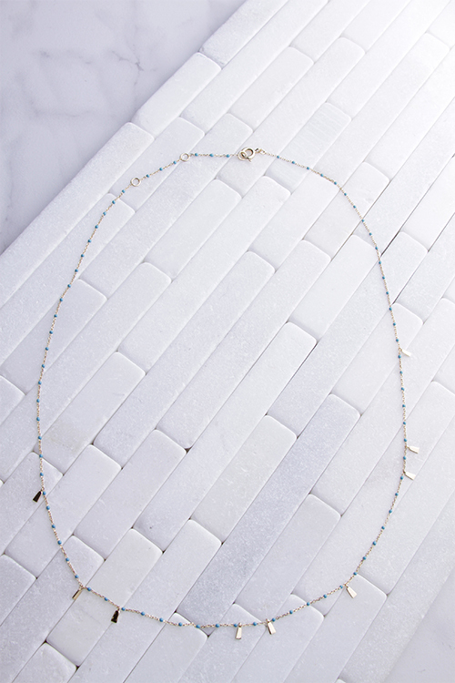 Turq Bead Chain With Gold Bars Necklace