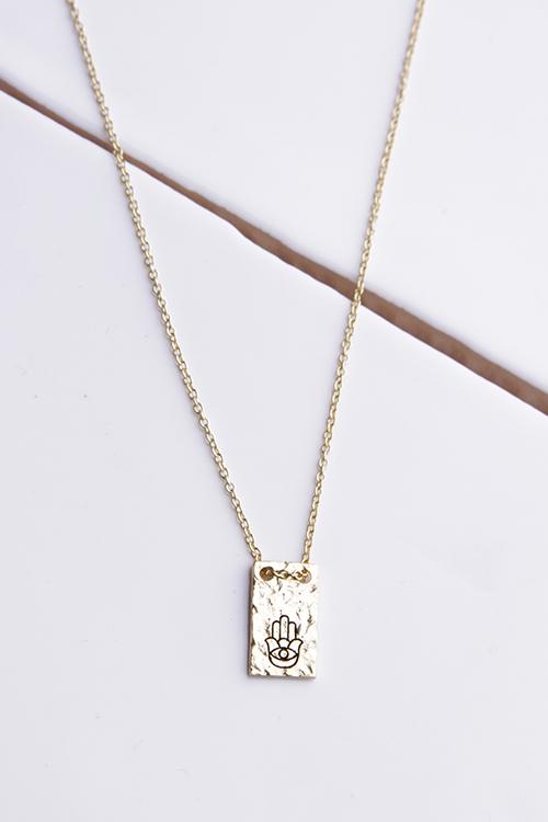 Hamsa Plate Necklace