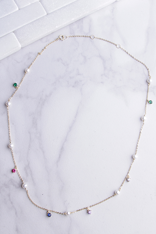 Pearl & Rainbow CZ Necklace