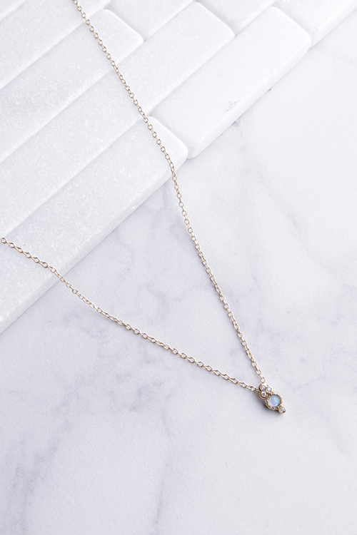 Small Opal CZ Drop Necklace