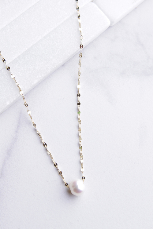 Glitz Chain Pearl Necklace