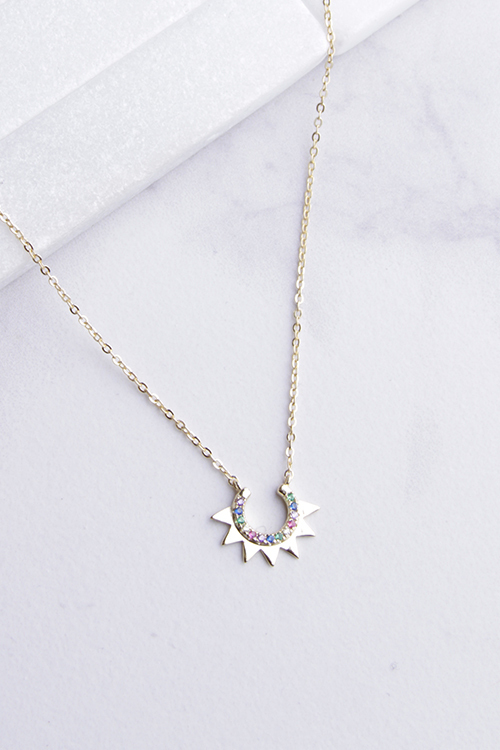 Half Sun Rainbow CZ Necklace