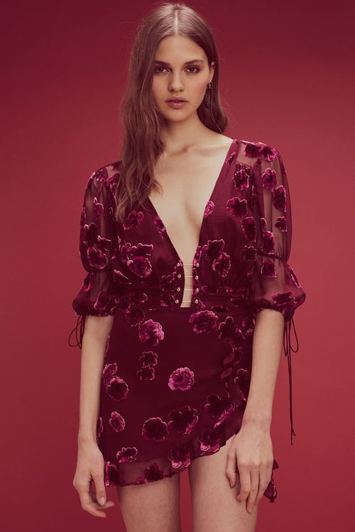 Sophie Velvet Floral Mini Dress