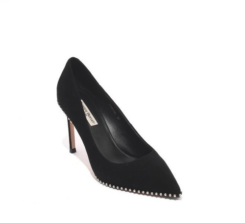Black Suede Leather Studded Heel Pumps Shoes