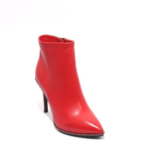 Red Leather Studded Ankle Heel Boots
